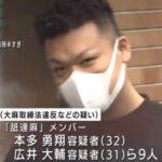 本多勇翔・広井大輔の衝撃逮捕顔画像と舐達麻は解散や密売組織とは?